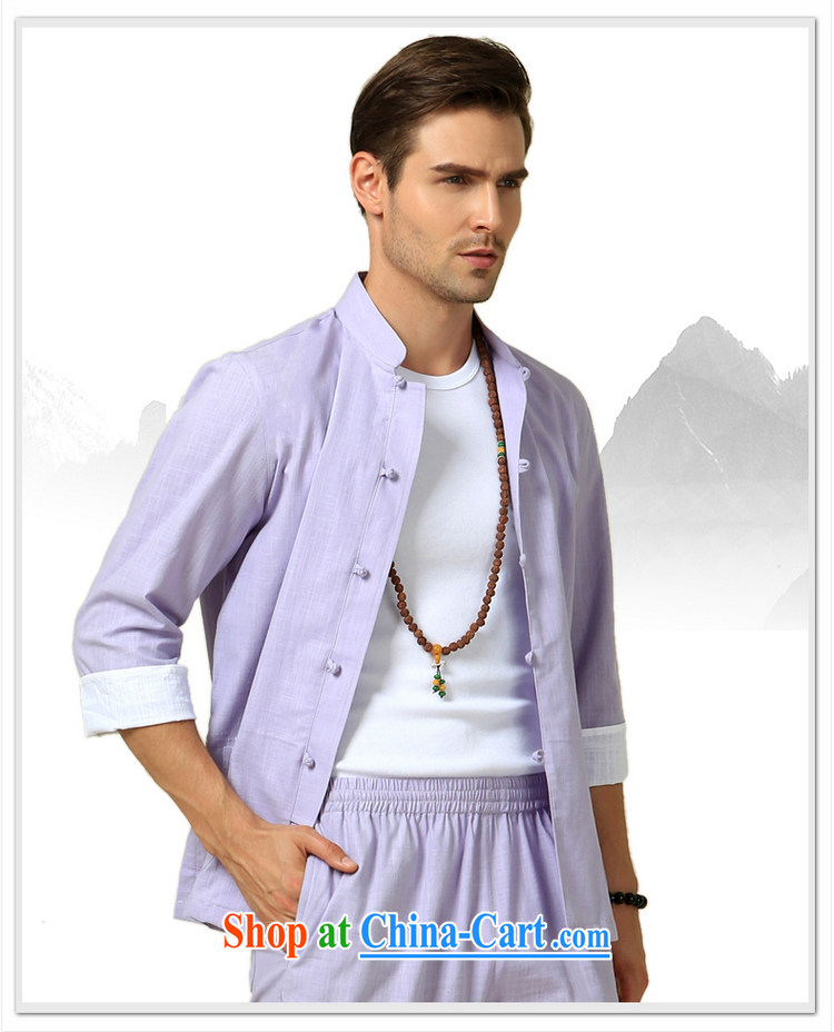 cool ocean summer 2015 New Men's Tang on the T-shirt Chinese wind male half sleeve shirt cultivating Chinese cotton light purple (click in the cuff) 170/M pictures, price, brand platters! Elections are good character, the national distribution, so why buy now enjoy more preferential! Health