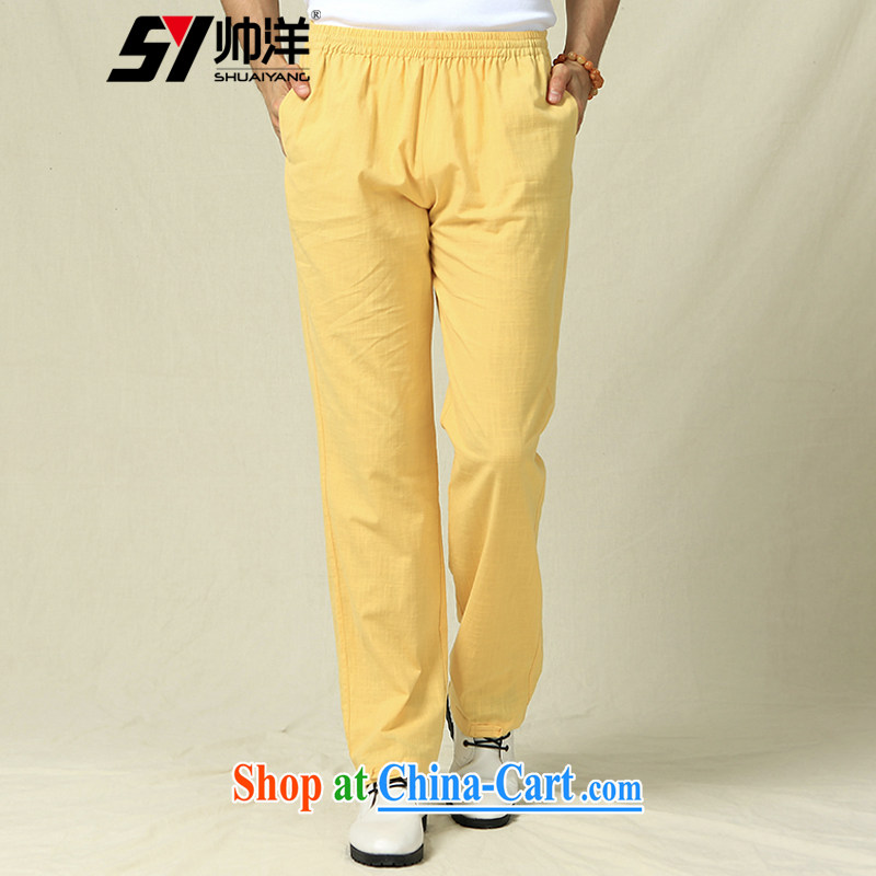 cool ocean 2015 New China wind men's short pants Chinese pants yellow _trousers_ 185_XXL