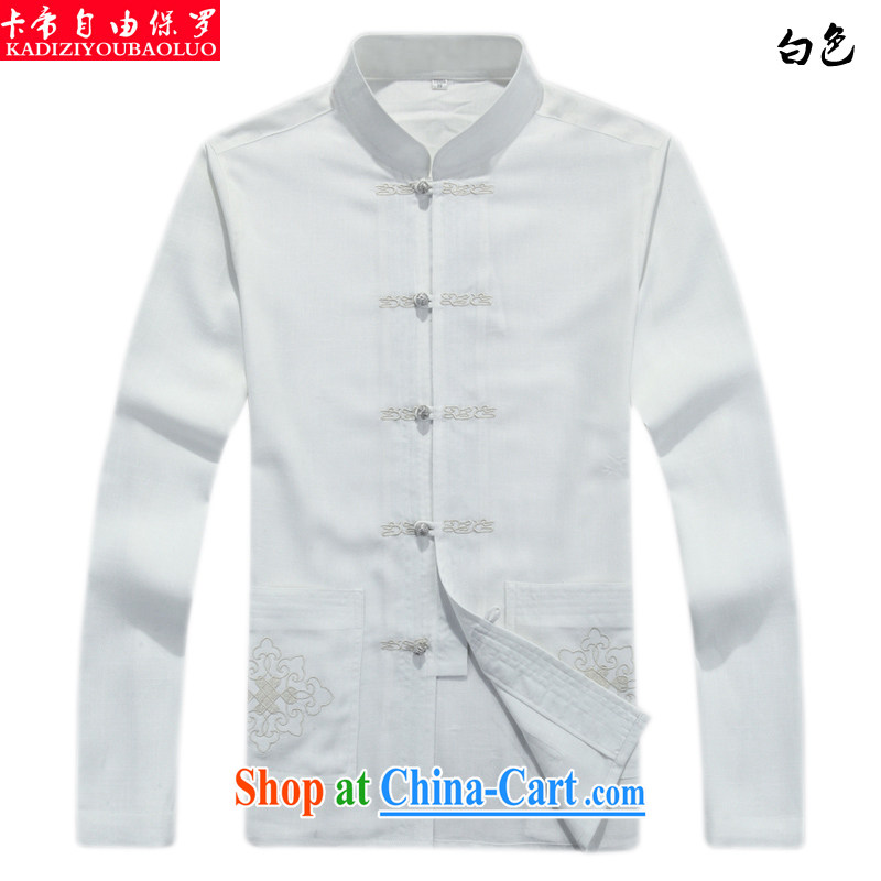 The Royal free Paul 2015 men's new Chinese men's long-sleeved national dress in the old life fashion clothes men and package mail white 190