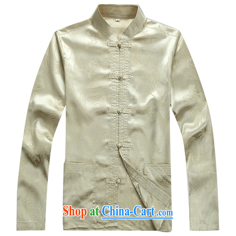 The chestnut Mouse middle-aged and older Chinese Kit long-sleeved summer middle-aged men Tang replace Kit father in older male beige Kit XXXL, the chestnut mouse (JINLISHU), and shopping on the Internet