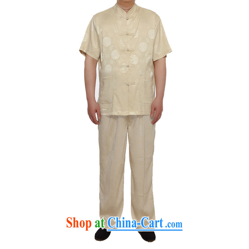 golden poppy the Mouse Tang load package summer thin China wind-buckle old men short-sleeved Tang load package Grandpa blue loose version gold XXXL