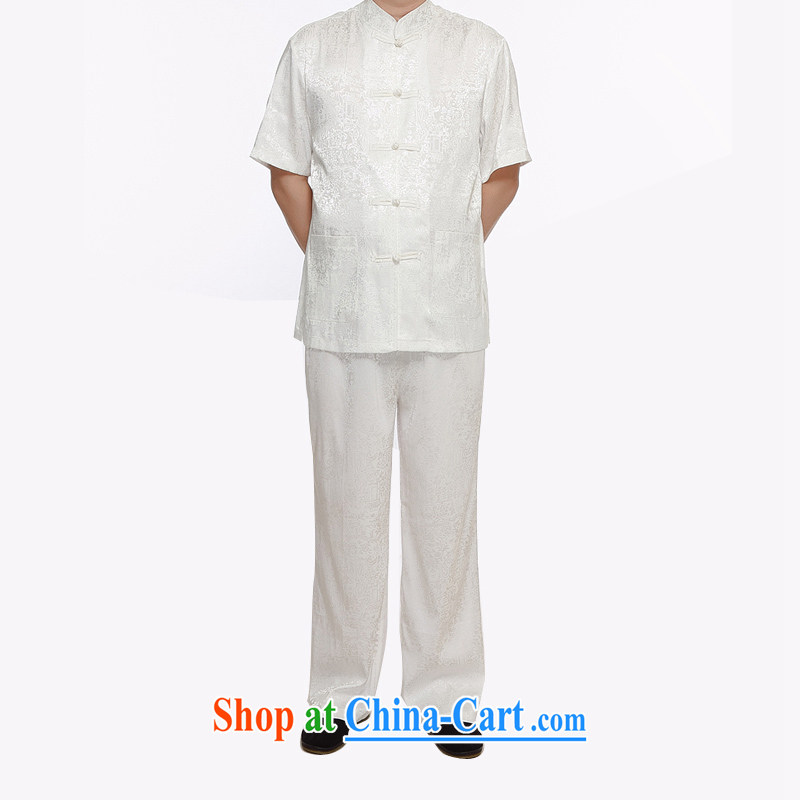 The chestnut mouse 2015 men's Chinese Kit from hot summer thin China wind-buckle old men short-sleeved Chinese kit and white XXXL