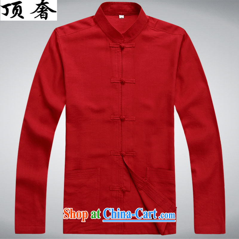 Top Luxury new Chinese men and a short-sleeved Kit cotton the Chinese men's summer linen shirt Dad loaded the code national costumes national wind martial arts package cynosure long-sleeved clothes and long-sleeved red kit 43/190