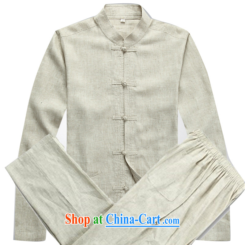 The poppy the mouse and spring, and for long-sleeved T-shirt kung fu sets new men's long-sleeved Chinese Kit Chinese classical male beige Kit XXXL