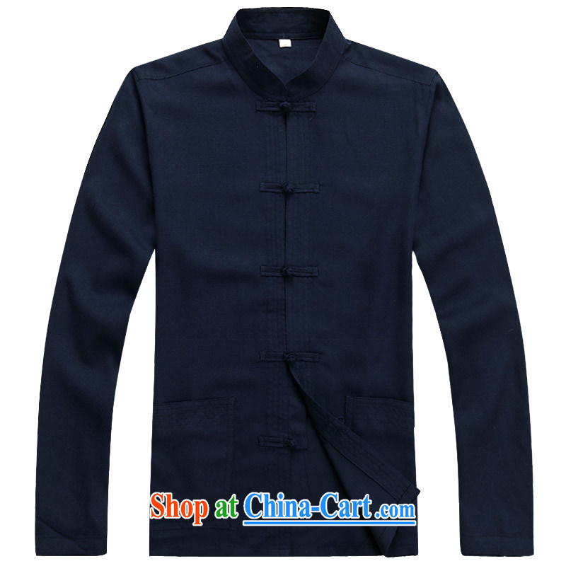 Kim Jong-il chestnut mouse Tang Mounted Kit long-sleeved middle-aged and older men's middle-aged men with short summer thin very casual China wind father Grandpa loaded with dark blue Kit XXXL, the chestnut mouse (JINLISHU), online shopping