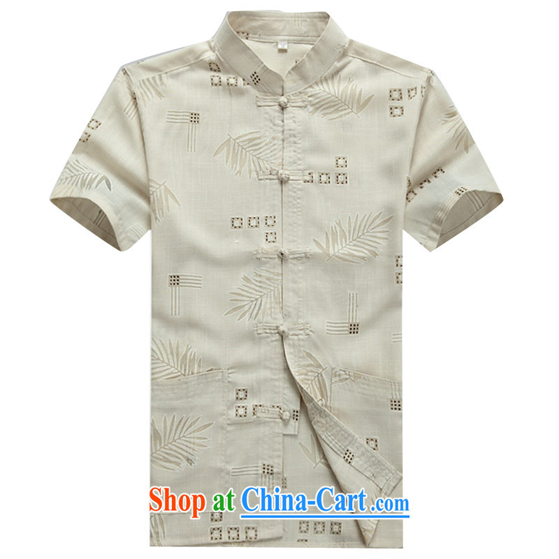 The Beijing Summer middle-aged and older short-sleeved cotton the Chinese middle-aged men China wind half sleeve shirt men's father with his grandfather summer beige XXXL_190