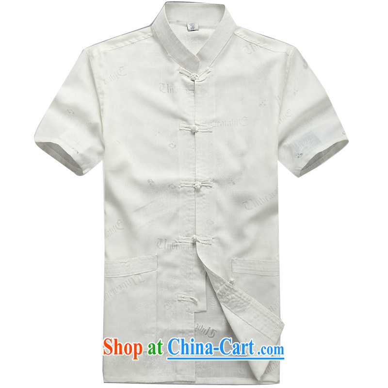 The Beijing summer, middle-aged and older men's summer cotton mA short-sleeved shirt middle-aged men's short-sleeved larger Chinese White XXXL_190