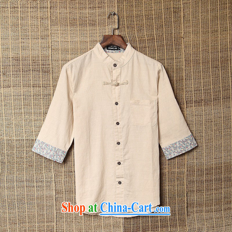 Dan Jie Shi summer cuff in linen shirt Chinese style is very short sleeve T-shirt a Field Unit for the comfort and breathability to the beige XXL _160 - 180 _ jack