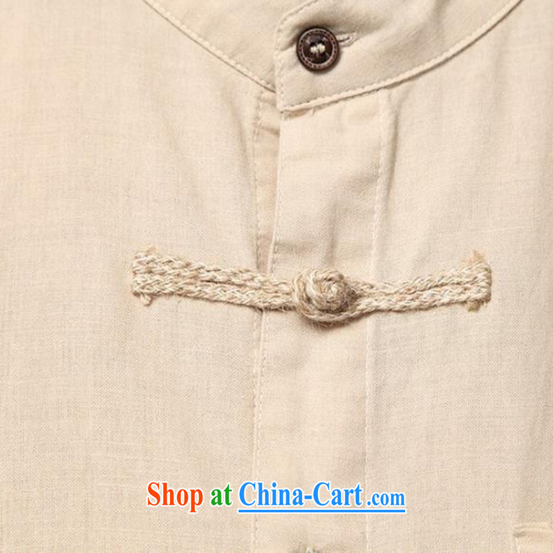 Dan Jie Shi summer cuff in linen shirt Chinese style is very short sleeve T-shirt a Field Unit for the comfort and breathability to the beige XXL (160 - 180 ) jack, Dan Jie Shi (DAN JIE SHI), online shopping