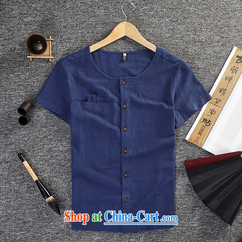 Dan Jie Shi summer New Men linen T shirt cotton Ma Sau San short-sleeved T the Commission the T-shirt the code t-shirt men's can be the royal blue XL .