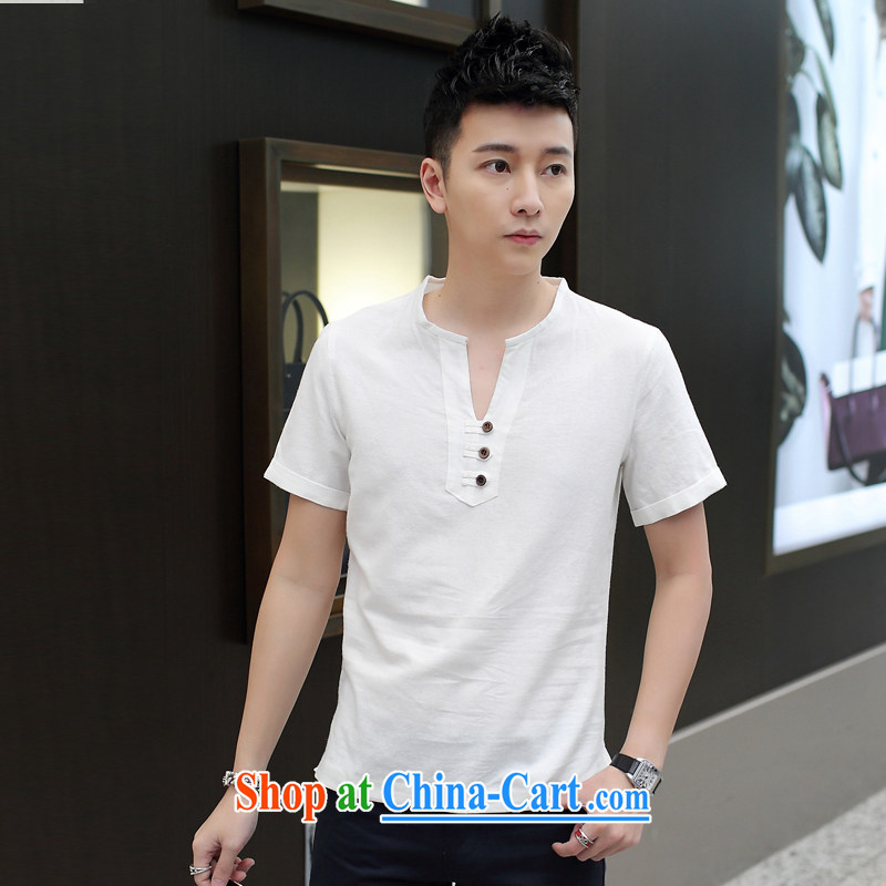 Dan Jie Shi thin short-sleeved T shirts and loose summer Korean cotton the linen trends V collar Y for men and T-shirt to the white XXL .
