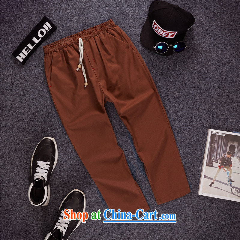 Dan Jie Shi summer 9 pants men and thin beauty pants and cotton the castor, trouser press, Trouser Press male and pants men and 9 men's trousers relaxed summer, the brown XXXL