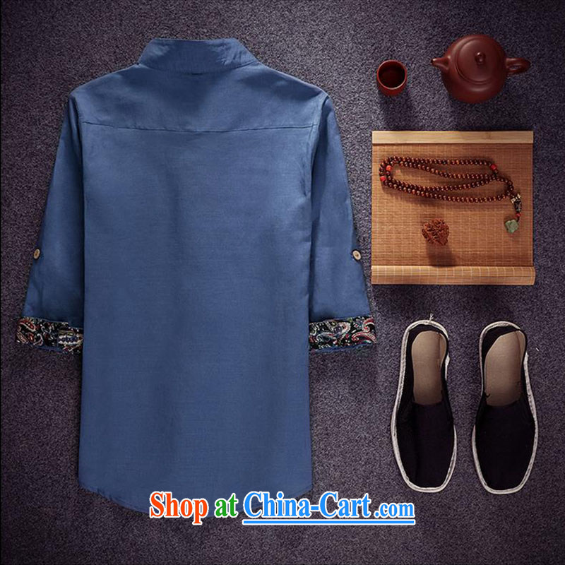 Dan Jie Shi China wind maximum code linen embroidery shirt men's minimalist cotton Ma 7 cuff retro shirt to the Peacock Blue 5 XL _recommendations 180 - 195 jack_