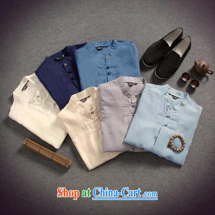 Dan Jie Shi 2015 spring and summer put male cotton the linen shirt men and the charge-back 7 T-shirt T-shirt original China wind beauty, light gray XXL pictures, price, brand platters! Elections are good character, the national distribution, so why buy now enjoy more preferential! Health