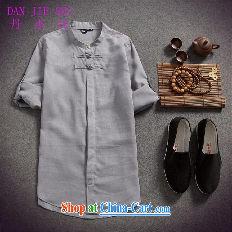 Dan Jie Shi 2015 spring and summer put men's cotton the linen shirt men and the charge-back 7 T-shirt T-shirt original China wind beauty, light gray XXL
