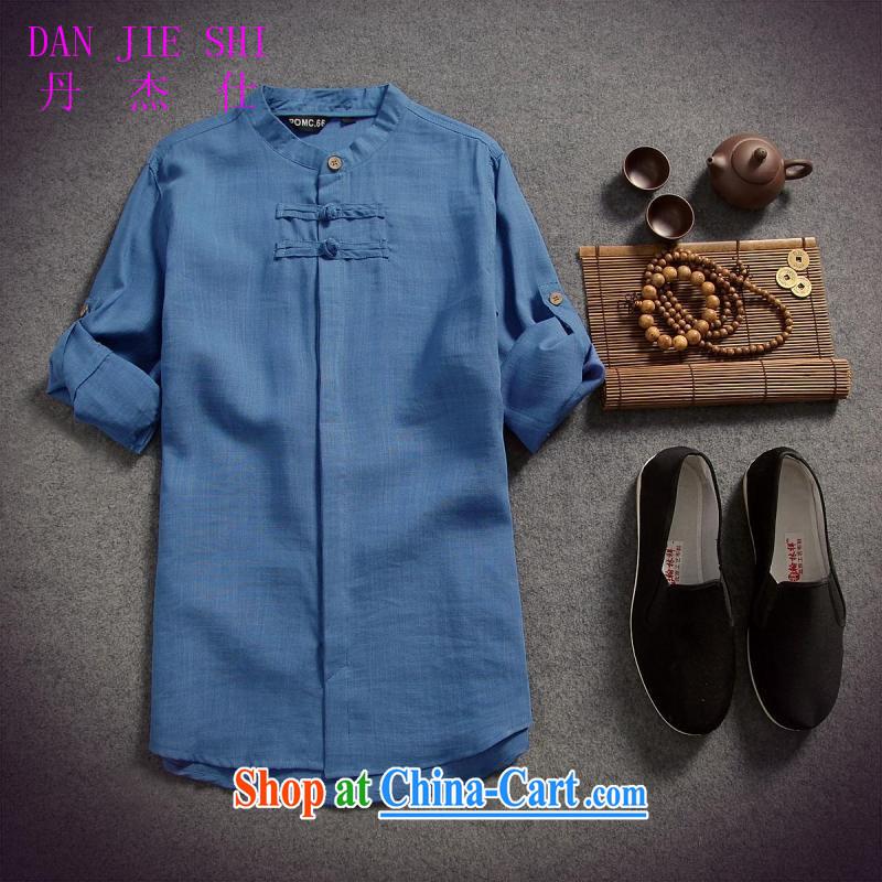 Dan Jie Shi 2015 spring and summer filled with men's cotton the linen shirt men and the charge-back 7 T-shirt T-shirt original China wind beauty, light gray XXL, Dan Jie Shi (DANG JIE SHI), online shopping