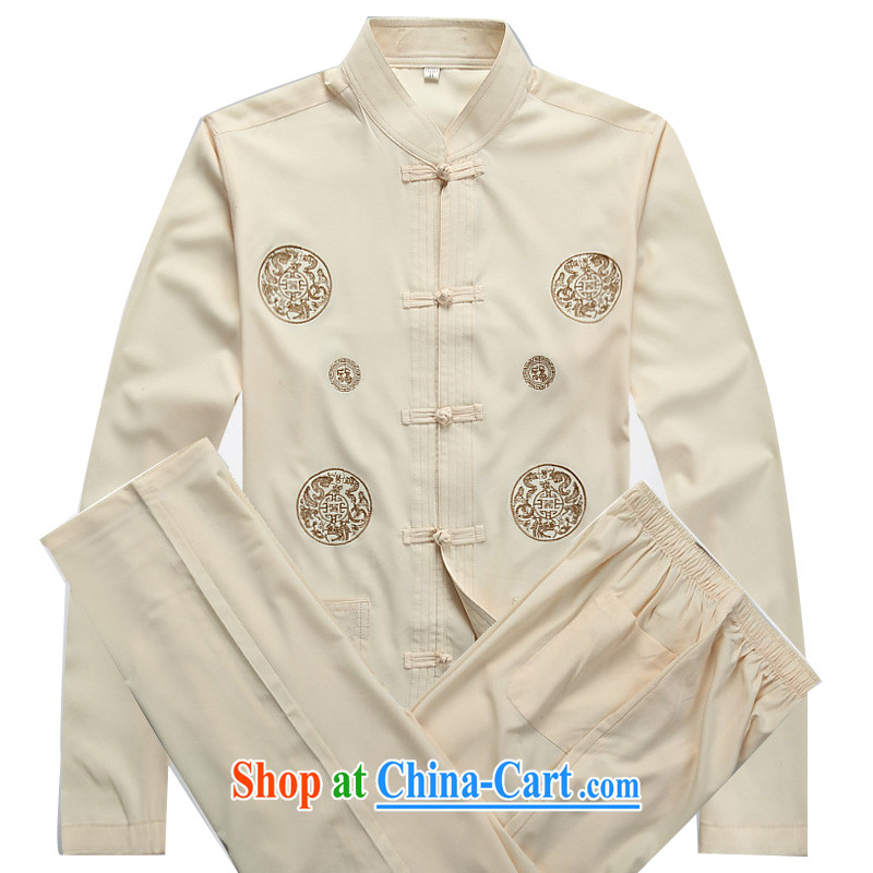 The chestnut Mouse middle-aged and older Chinese Kit long-sleeved spring and summer thin middle-aged man Tang replace Kit father in older men's beige Kit XXXL
