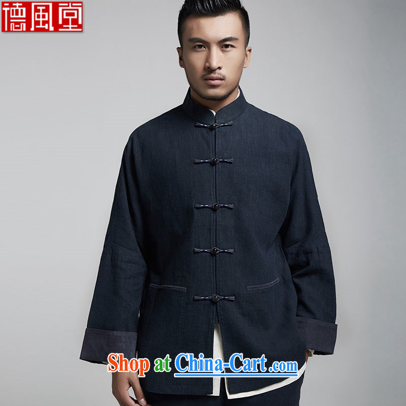 Wind, The 1000 pure Chinese double-shoulder tang on the 2015 autumn jacket embroidery and the high-end comfort and original Chinese Wind and dark blue 50/180