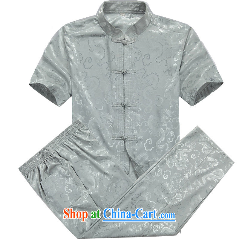 The Beijing 2015 men's Tang is a short-sleeved T-shirt, old Tang service men and summer short-sleeved Chinese male half sleeve shirt XL gray cyan package XXXL