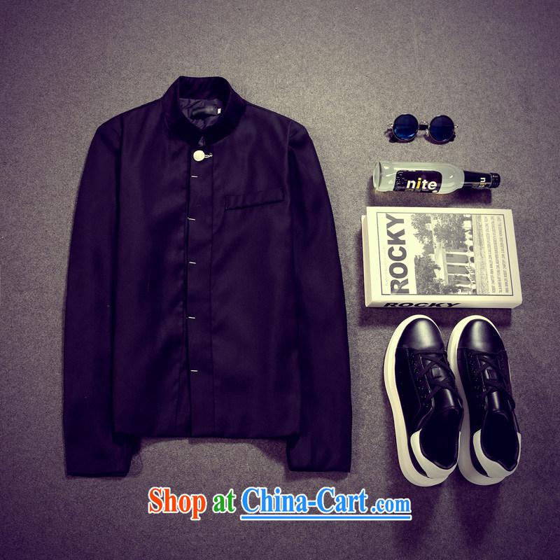 Respecting the 2015 autumn and winter new men, Retro, stylish smock Sau San Sun Yat-sen jacket black XXL