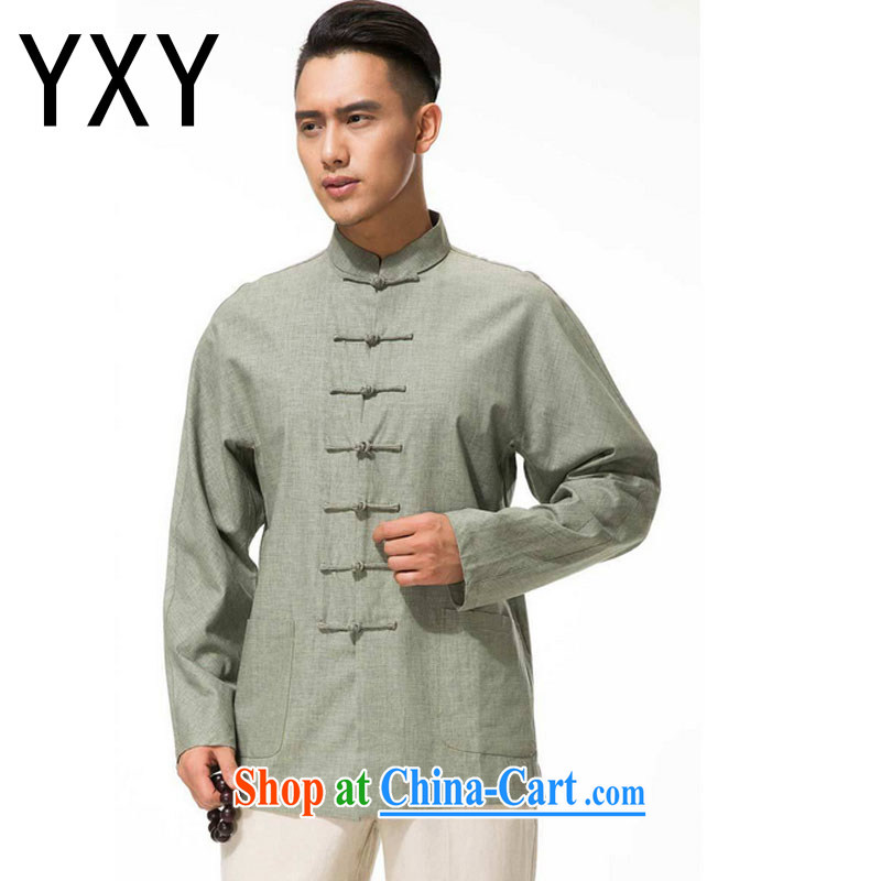 Stakeholders the cloud men's cotton the Commission, for the charge-back Tang with long-sleeved T-shirt, older leisure long-sleeved multi-colored DYTM - X beans green XXXL