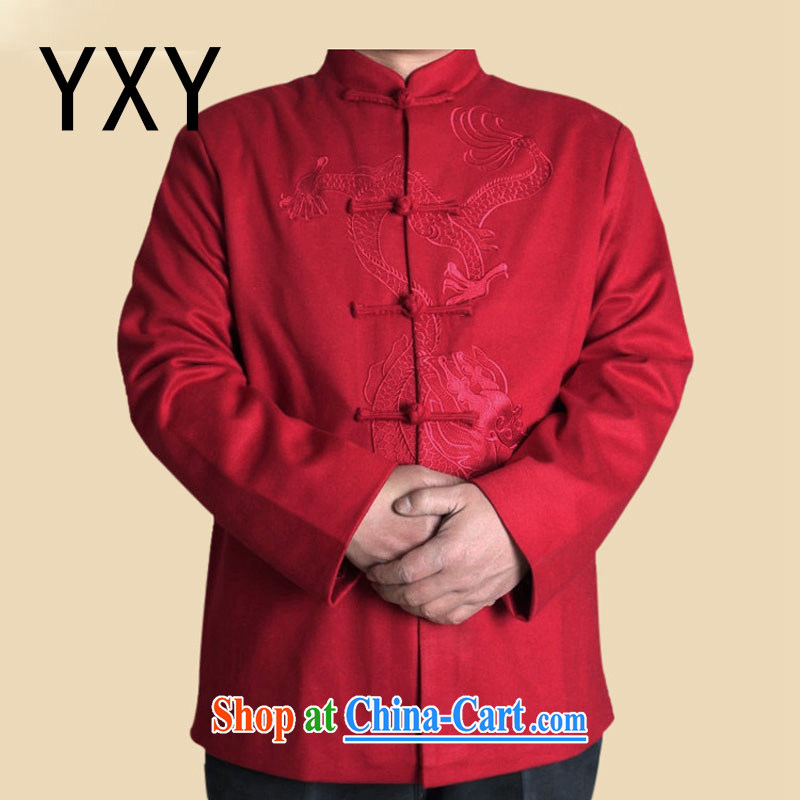 Stakeholders line cloud Han-ethnic Chinese wind up for long-sleeved men's spring Chinese standard T-shirt jacket older Chinese DYF 717 red XXXL