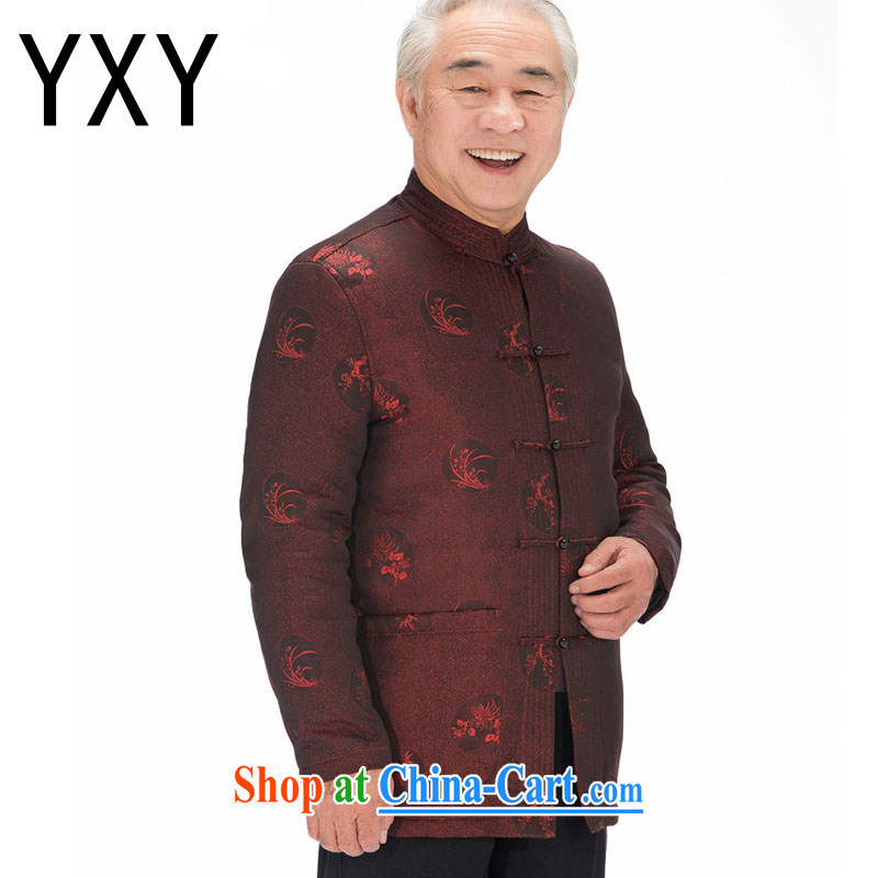 Stakeholders line cloud Tang with autumn and winter with thick quilted coat cotton suit Chinese improved Tang fitted T-shirt, old 鑵婃 orchids flower DYD - 14,018 deep red 4 XL