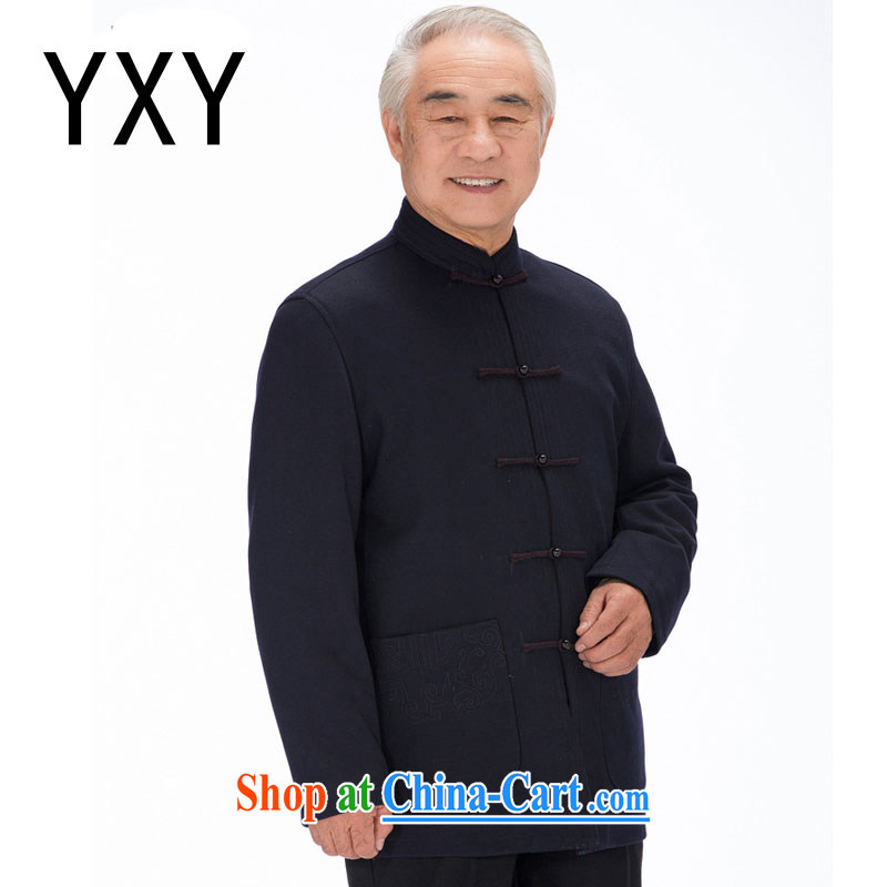 At stake line gross cloud in what older men Tang with Chinese winter coat thick, lined with retro upscale embroidery DYD - 14,017 dark blue 4 XL