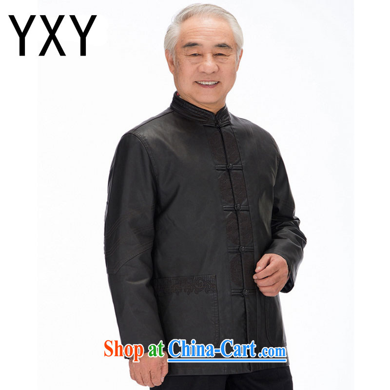 Stakeholders line cloud men Tang jackets long-sleeved PU washable leather Chinese ethnic clothing and casual shirt DYD - 818 black 4XL