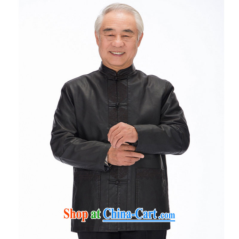 Stakeholders line cloud men Tang jackets long-sleeved PU washable leather Tang with national costumes and casual shirt DYD - 818 black 4XL stakeholders, the cloud (YouThinking), and on-line shopping