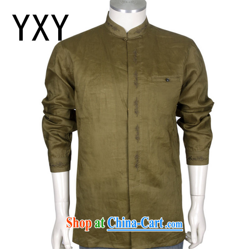 Stakeholders line cloud improved Chinese Tang replacing men and taxi stand collar long-sleeved T-shirt with autumn retro shirt men and 100 solid ground DYA 1207 green beans XXXL