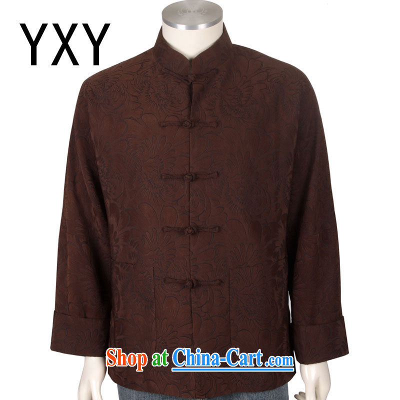 Stakeholders line cloud high quality Chinese long-sleeved T-shirt and elegant Daisy men Han-chinese DYA 1203 brown XXXL