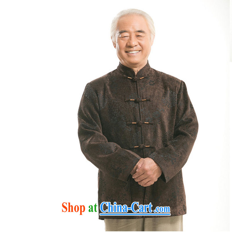 Stakeholders line cloud China wind men's round-hi jacket older leisure Chinese men's long-sleeved T-shirt DY 9823 brown XXXL stakeholders, the cloud (YouThinking), and, on-line shopping