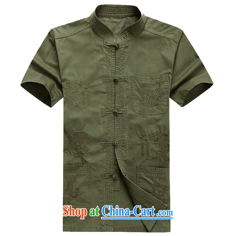The chestnut mouse summer middle-aged men with short T-shirt with short sleeves, older men's summer shirt China wind national dress dark green XXXL_190