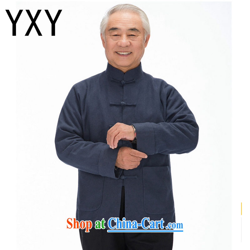 Stakeholders line cloud male long-sleeved Chinese leisure old men long-sleeved Tang with thick winter jackets DY 1320 blue XXXL