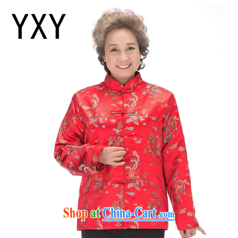 Stakeholders line cloud fall and winter men and women quilted Chinese phoenix Mom and Dad golden coat, older couples with DY 0876 women red XXXL