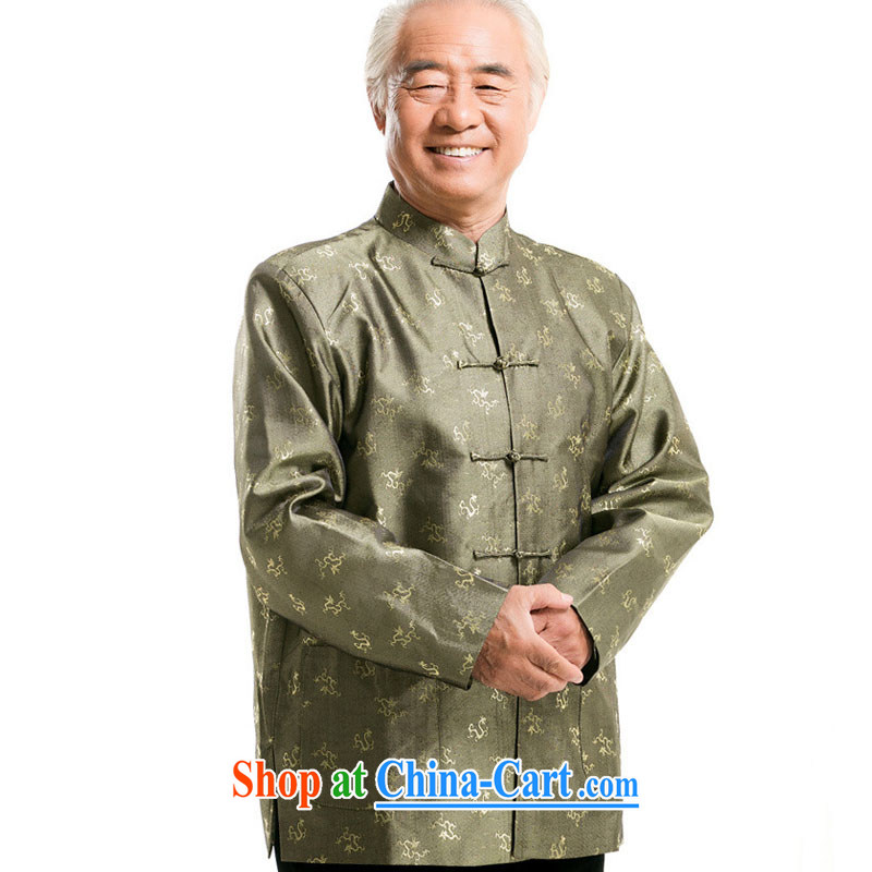 Stakeholders line cloud Chinese men's autumn and winter load Tang Long-sleeved T-shirt, older men and the charge-back older persons long-sleeved male DY 0777 green XXXL stakeholders, the cloud (YouThinking), and, on-line shopping