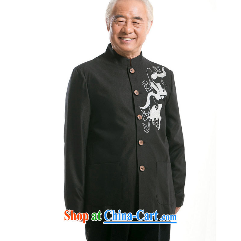 At stake line cloud embroidered dragon men's Tang with long-sleeved jacket Chinese middle-aged and older male Chinese, collared T-shirt 0733 DY black XXXL stakeholders, the cloud (YouThinking), and, on-line shopping