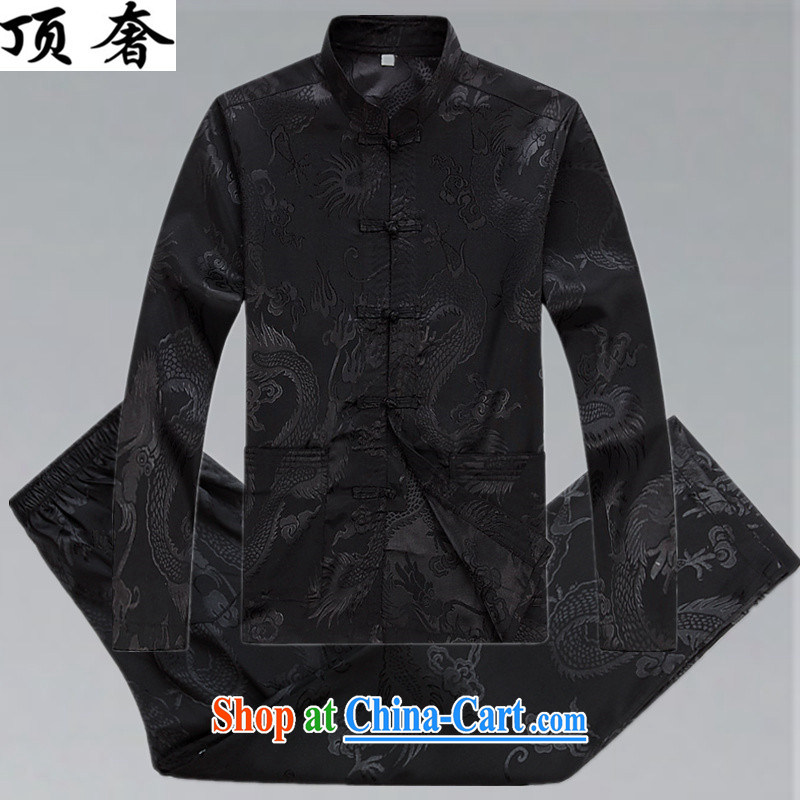 Top Luxury men's Chinese shirt Chinese men's long-sleeved Kit China wind spring loaded loose version men and set the snap up for Chinese Han-serving practitioners black XXXL/190