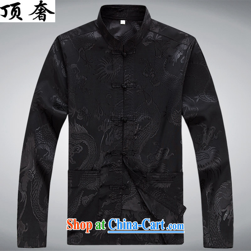 Top Luxury men's Chinese shirt Chinese men's long-sleeved Kit China wind spring loaded loose Edition black men and set-back for the Chinese Han-serving practitioners black XXXL/190, with the top luxury, online shopping