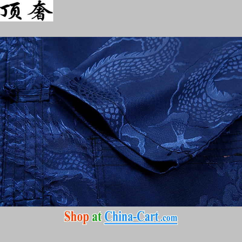 Top Luxury Spring and Autumn 2015, men's long-sleeved Chinese Chinese shirt shirt solid kung fu T-shirt cynosure serving men Tang is set loose version, served the blue package XXXL/190, with the top luxury, shopping on the Internet