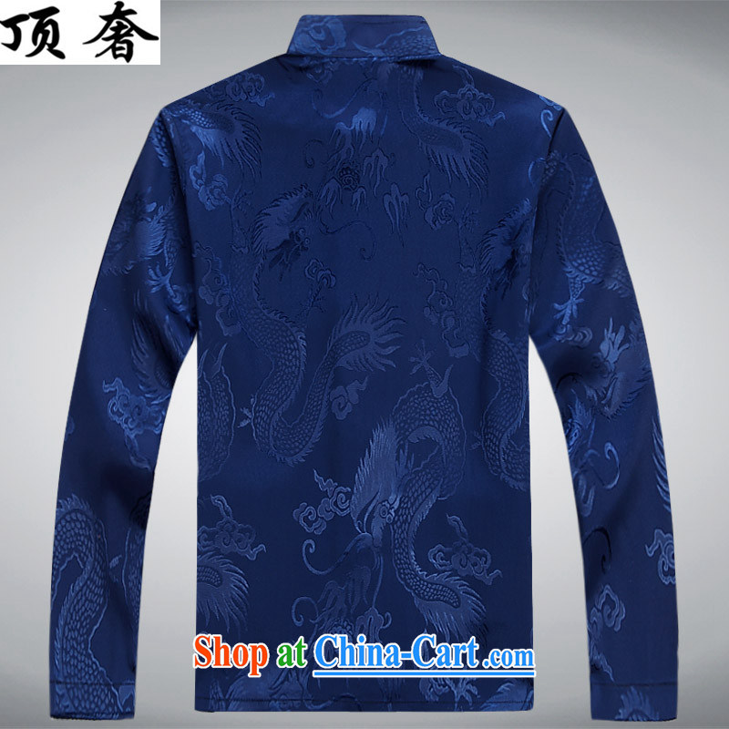 Top Luxury men's Chinese shirt Chinese men's long-sleeved Kit China wind spring loaded loose Edition black men and set-back for the Chinese Han-exercise clothing Blue Kit XXXL/190 and the top luxury, shopping on the Internet