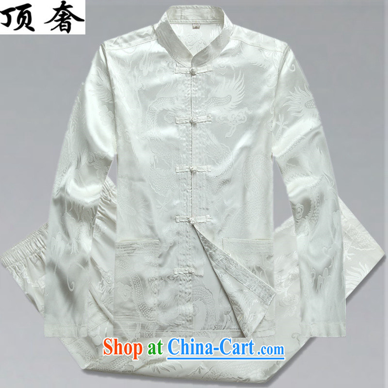Top Luxury men's Chinese shirt Chinese men's long-sleeved Kit China wind spring loaded loose version of package men's disc buckle up for Chinese Han-exercise clothing white package XXXL_190