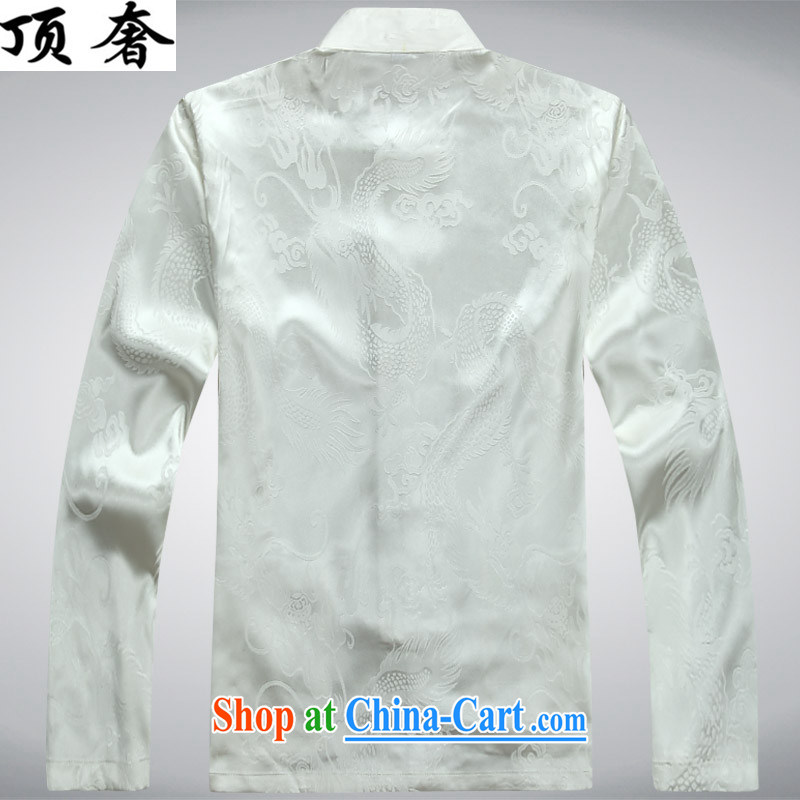 Top Luxury men's Chinese shirt Chinese men's long-sleeved Kit China wind spring loaded loose version of package men's the buckle up for Chinese Han-serving practitioners white package XXXL/190 and the top luxury, shopping on the Internet