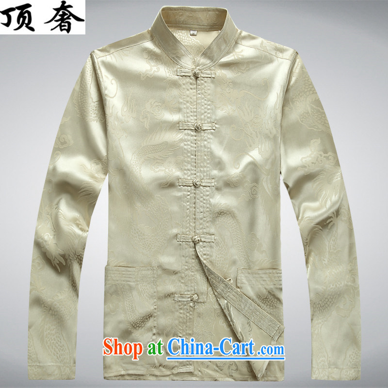 Top Luxury men's Chinese shirt Chinese men's long-sleeved Kit China wind spring loaded loose version of package-tie, for Chinese Han-exercise clothing m yellow package XXXL/190, and the top luxury, shopping on the Internet