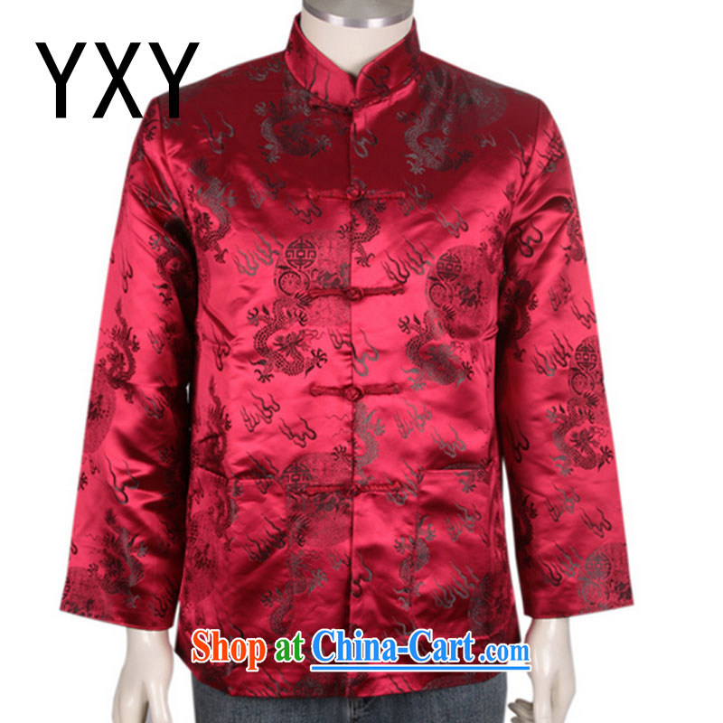 The stakeholders in the Cloud older style Tang fitted T-shirt men's winter Chinese cotton jacket, serving DY 0708 red XXXL