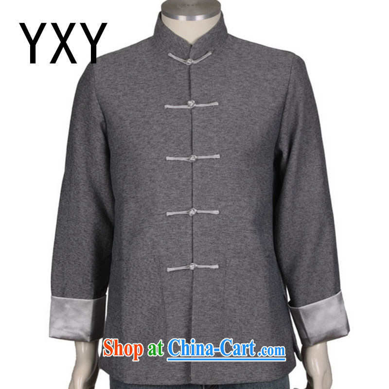 Stakeholders line cloud Chinese, in older Chinese men's linen gray jacket men and Chinese wind national costumes DY 0308 gray XXXL