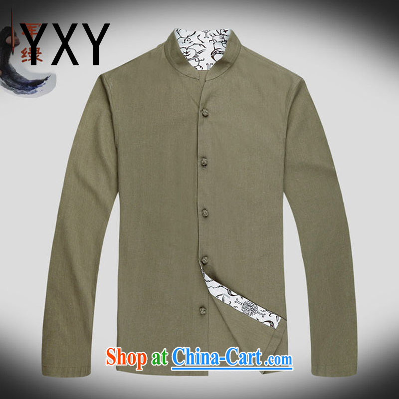 Stakeholders line cloud long-sleeved China wind up for Chinese improved leisure Chinese large numbers of national costumes, Autumn DY 053 army green XXXL