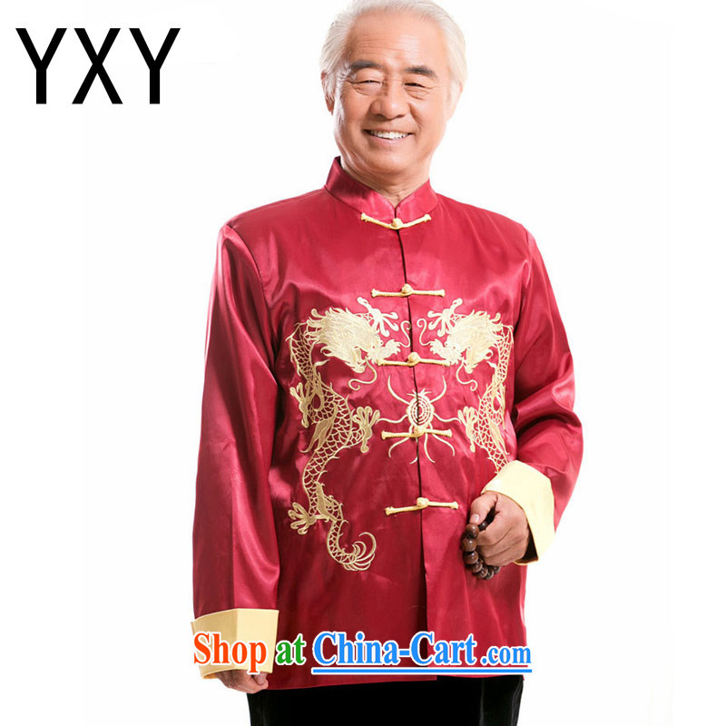 At stake the cloud men and Chinese, for Chinese Ethnic Wind in older double-lung embroidery Dragon male performances DY serving 004 red XXXL