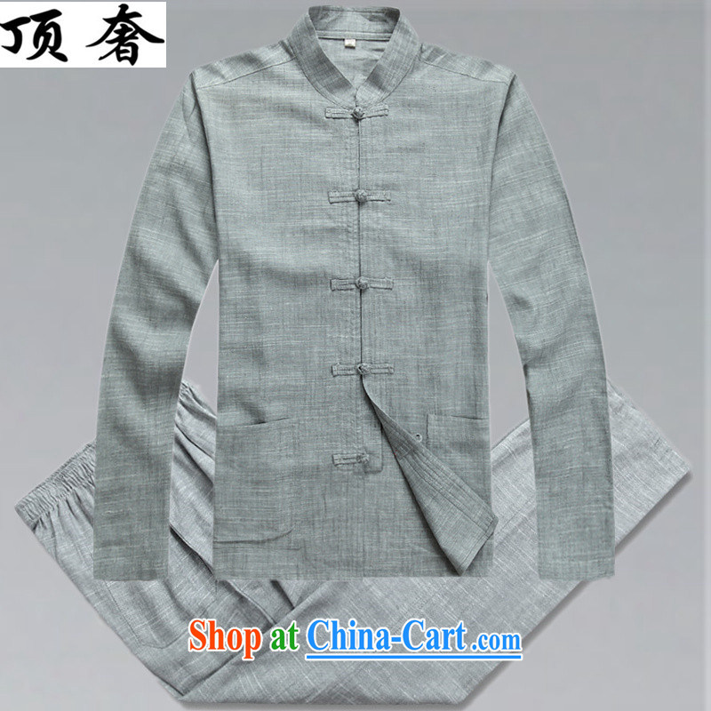 Top Luxury spring/summer men's cotton the Chinese men's autumn and long-sleeved clothing, middle-aged father older persons with Mr Henry TANG Chinese men and replace the clip, for Chinese Kit gray package XL/180